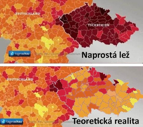 Zdá se že koronavirus se za železnou oponu ČR na hranicích sNěmeckem nemá šanci dostat. Řada našich spoluobčanů viní jiné spoluobčany, že nedodržují vládní pravidla a tak se unás virus šíří jako tsunami. Pravda je však taková, že vČR se prohlašuje za nemocného kdokoli, komu test ukáže, že jako by měl být nemocný a přitom mu však naprosto nic není. VNěmecku jsou do statistik započítáváni pouze ti, kteří opravdu onemocněli a mají pozitivní test.